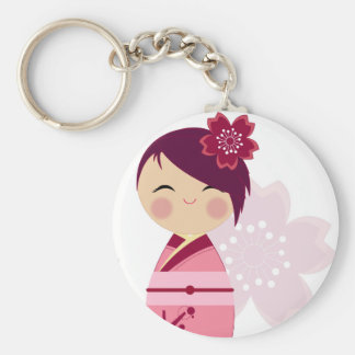 Kokeshi Sakura Close Up Keychain