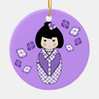 Kokeshi Style Doll Illustration with Floral Kimono Ceramic Ornament