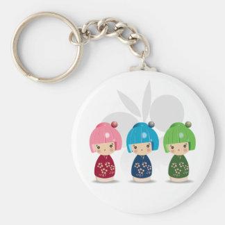 Kokeshi Triplets Keychain