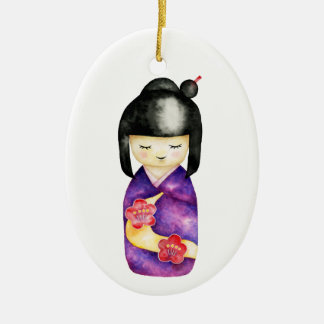 Kokeshi Watercolor Painting Ceramic Ornament