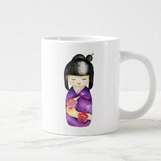 Kokeshi Watercolor Painting Large Coffee Mug