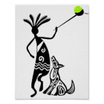 Kokopelli and Dog Poster