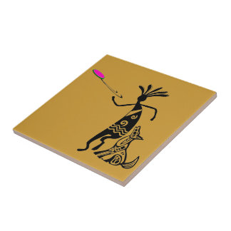 Kokopelli and Dog Tile