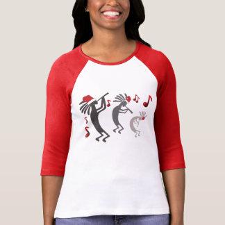 Kokopelli Christmas Ladies Raglan Tshirts