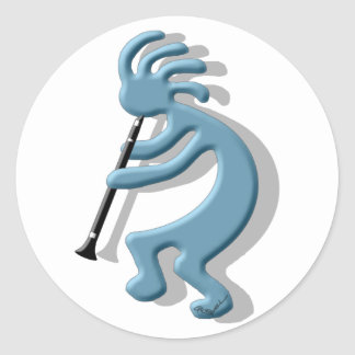 Kokopelli Clarinet Classic Round Sticker
