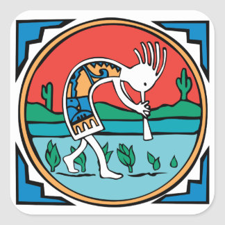 Kokopelli Color Square Sticker