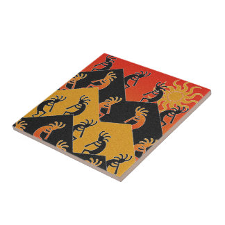 Kokopelli Dance Desert Sunset Southwest Tile