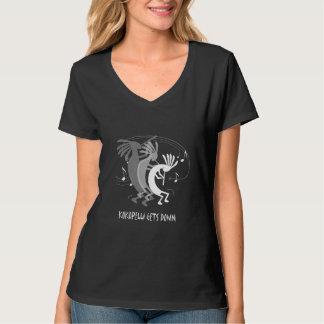 Kokopelli Gets Down Ladies Black T-shirt