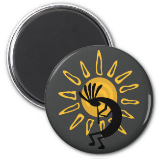 Kokopelli Gold Sun Southwest Magnet