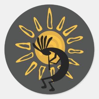 Kokopelli Gold Sun  Southwest Sticker