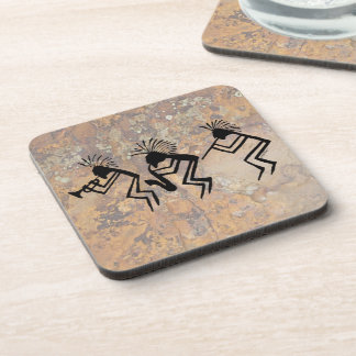 Kokopelli Horn and Flute Player Petroglyph Coaster