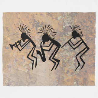 Kokopelli Horn and Flute Player Petroglyph Fleece Blanket