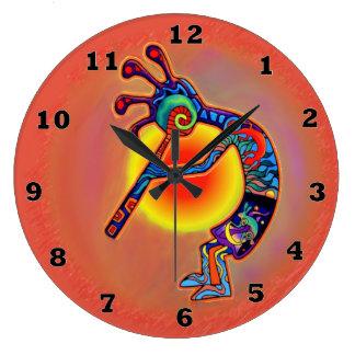 Kokopelli Lizard Sun Large Clock