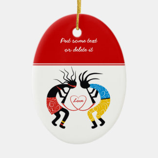 Kokopelli Love Ceramic Ornament
