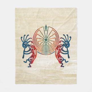 KOKOPELLI / MAN IN THE MAZE + your ideas Fleece Blanket