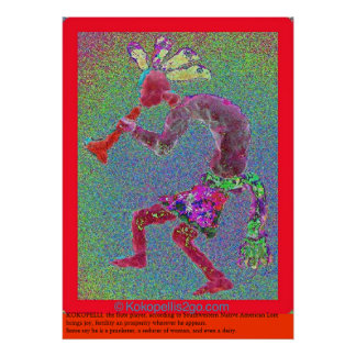 KOKOPELLI MYSTICAL RED RED BORDER POSTER