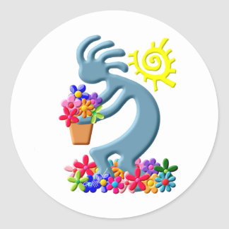 Kokopelli Native American Florist Classic Round Sticker