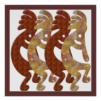 Kokopelli Rock Art March by M.Light Poster