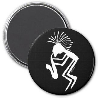 Kokopelli Saxaphone Player Petroglyph 3 Inch Round Magnet