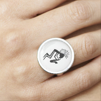 Kokopelli Saxaphone Player Petroglyph Rings