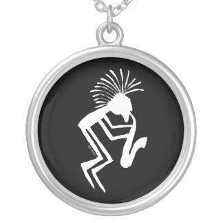 Kokopelli Saxaphone Player Petroglyph Silver Plated Necklace