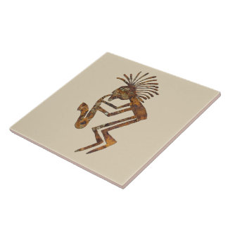 Kokopelli Saxaphone Player Petroglyph Tile