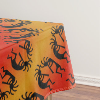Kokopelli Southwest Pattern Yellow Black Orange Tablecloth