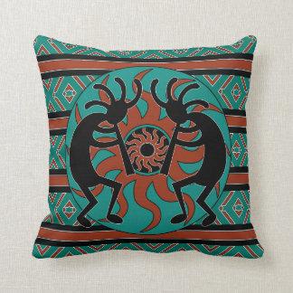 Kokopelli Southwest Turquoise Decorative Pillows
