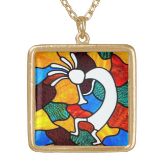 Kokopelli Stained Glass Gold Plated Necklace