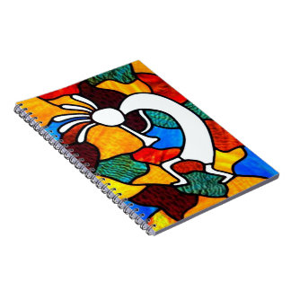 Kokopelli Stained Glass Spiral Notebook