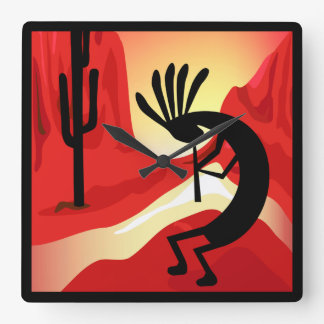 Kokopelli Sunset Desert Landscape Southwest Clock
