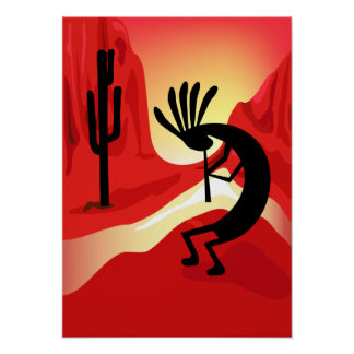 Kokopelli Sunset Poster