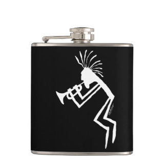 Kokopelli Trumpet Player Petroglyph Hip Flask