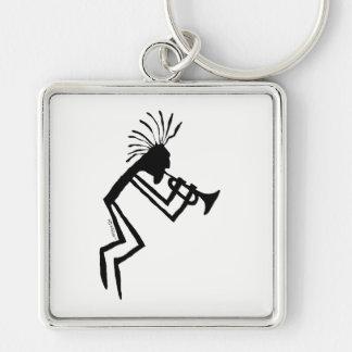 Kokopelli Trumpet Player Petroglyph Keychain