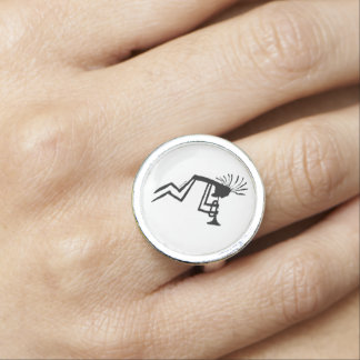 Kokopelli Trumpet Player Petroglyph Ring
