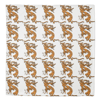 Kokopelli With Musical Notes Facing Left Duvet Cover
