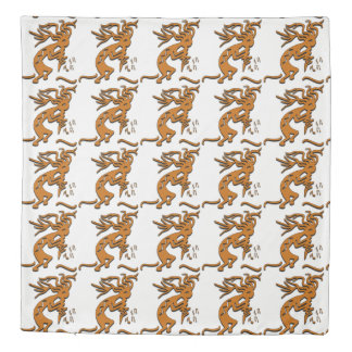 Kokopelli With Musical Notes Facing Right Duvet Cover