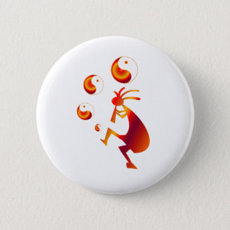 Kokopelli with Red Yin Yang 2 Inch Round Button