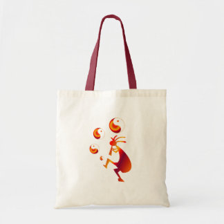 Kokopelli with Red Yin Yang Tote Bag