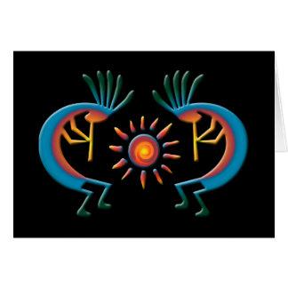 Kokopelli with Sun Southwest Black Greeting Card