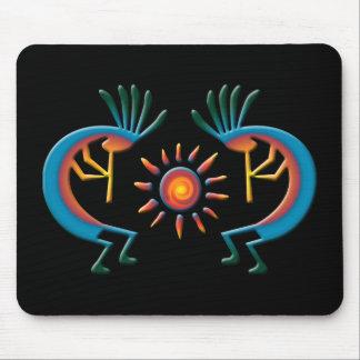 Kokopelli with Sun Southwest Black Mousepad