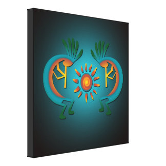 Kokopelli with Sun Wraped Canvas Print