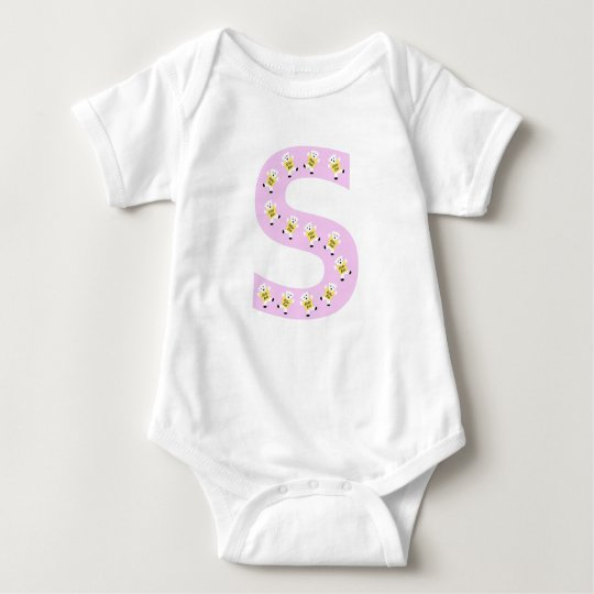 Kolarkub initial S in pink Baby Bodysuit