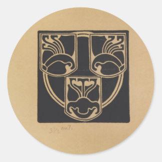 Koloman Moser- Draft of the emblem Classic Round Sticker