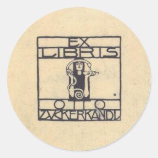 Koloman Moser- Exlibris for Otto Zuckerkandl Classic Round Sticker