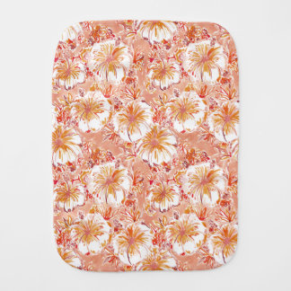 KOMBUCHA-CHA Peach Tropical Hibiscus Pattern Burp Cloth