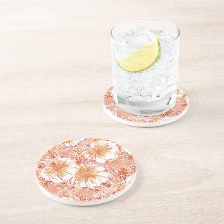 KOMBUCHA-CHA Peach Tropical Hibiscus Pattern Coaster