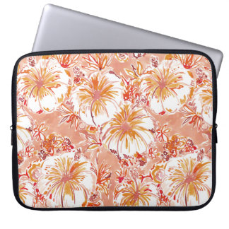 KOMBUCHA-CHA Peach Tropical Hibiscus Pattern Computer Sleeves