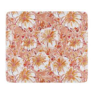 KOMBUCHA-CHA Peach Tropical Hibiscus Pattern Cutting Board
