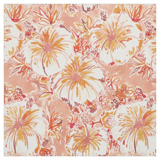 KOMBUCHA-CHA Peach Tropical Hibiscus Pattern Fabric